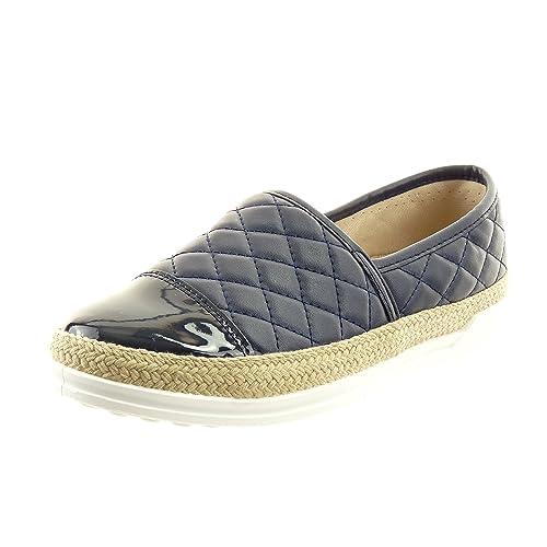 Sopily - Zapatillas de Moda Bailarinas alpargatas slip-on Tobillo mujer zapato acolchado patentes cuerda