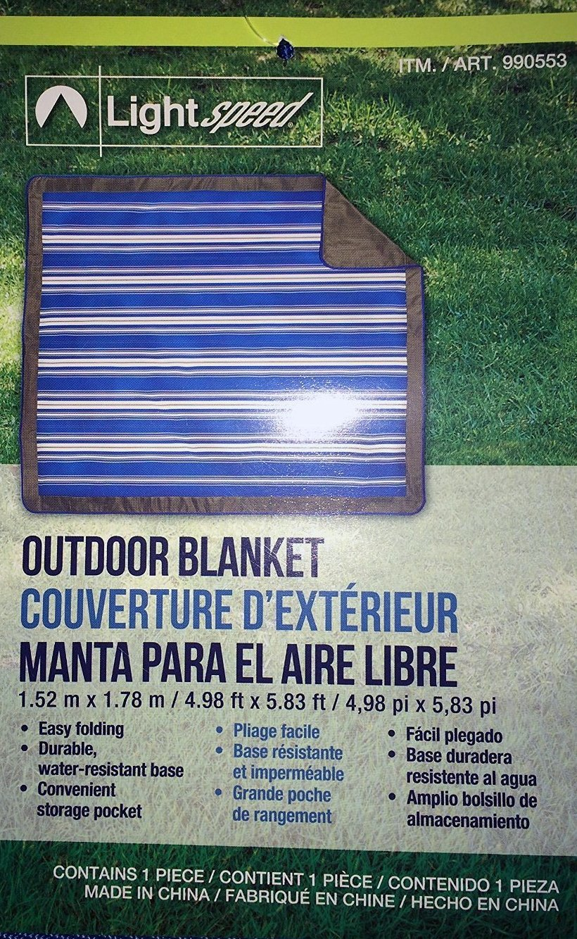 Amazon.com : LightSpeed Out- Door Blanket 60 X 70 ft..Gray/Blue with White Strips : Garden & Outdoor
