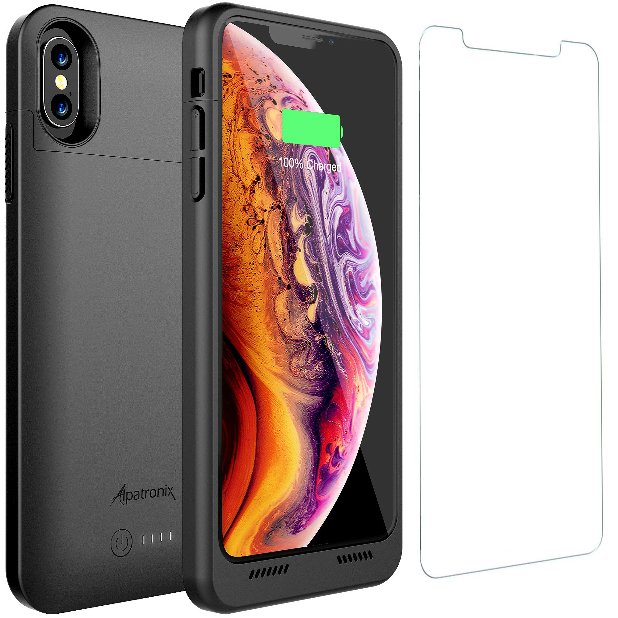 iPhone Xs Max Battery Case with Qi Wireless Charging Compatible, Alpatronix BXX Max 6.5-inch 5000mAh Portable Protective Rechargeable Extended Charger for iPhone Xs Max Juice Bank Power Case - Black