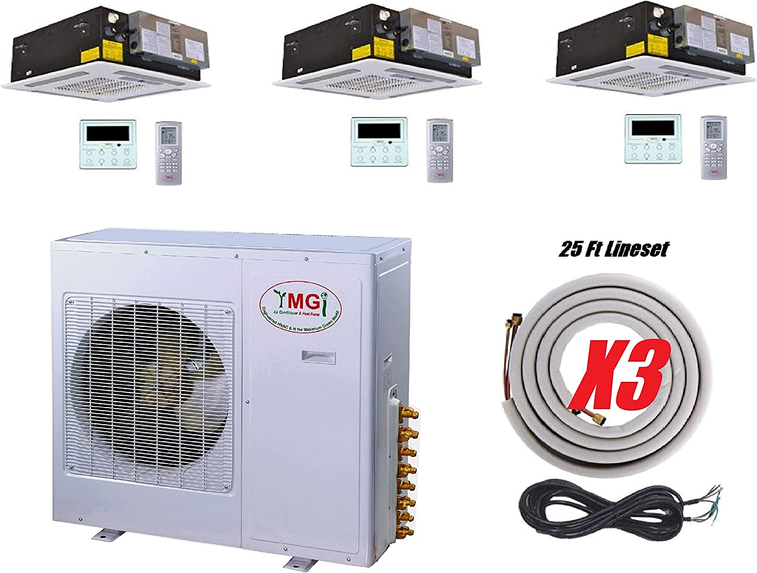 Ymgi Tri Zone 42000 Btu 21 Seer 12k 12k 18k Ceiling Mounted Ductless Mini Split Air Conditioner With Heat Pump For Home Office Apartment With 25 Ft Lineset Installation Kits Home