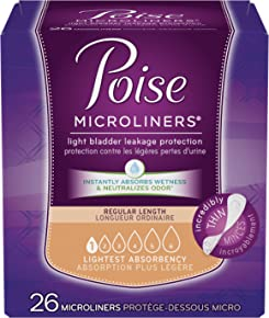 Poise  Microliners, Incontinence Panty Liners, Lightest Absorbency, Regular, 26 Count (Pack of 12)