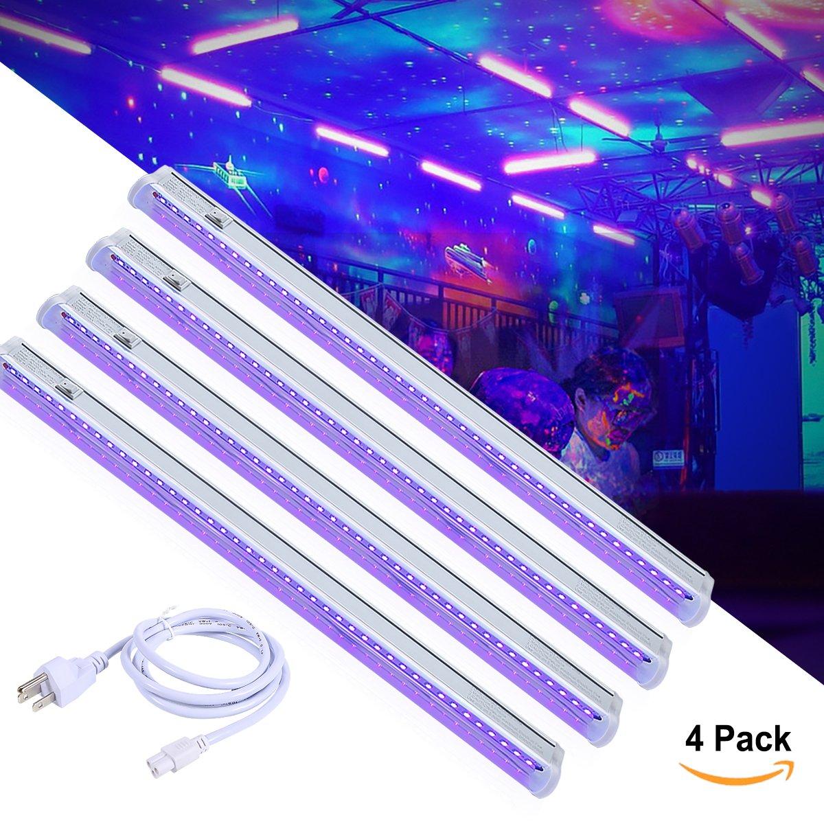 T5 UV LED Black Light Bar Fixtures Built-in ON/Off Switch, Greenclick 4 Pack DJ Blacklight Bar Safe Party UV Light, 24W, UL Listed Plug