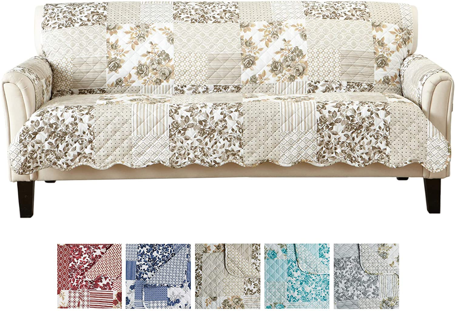 """Great Bay Home Patchwork Scalloped Printed Furniture Protector. Stain Resistant Couch Cover. (74"""" Sofa, Taupe)"""