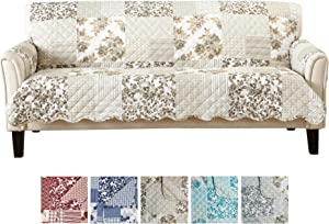 "Great Bay Home Patchwork Scalloped Printed Furniture Protector. Stain Resistant Couch Cover. (74"" Sofa, Taupe)"