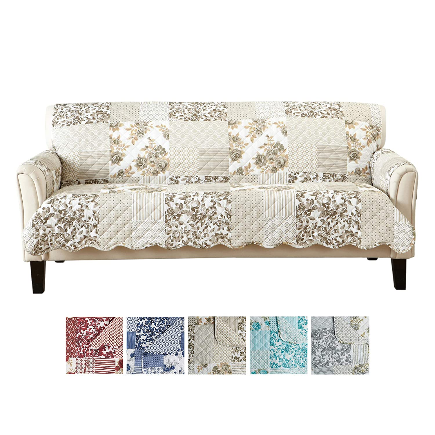 Superb Great Bay Home Patchwork Scalloped Printed Furniture Protector Stain Resistant Couch Cover 74 Sofa Taupe Caraccident5 Cool Chair Designs And Ideas Caraccident5Info