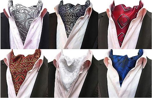 MOHSLEE Mens 6 PCS Floral Cravat Ascot Scarf Tie Necktie Neck Ties Warm Set  of 6 at Amazon Men's Clothing store