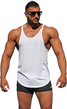 Physique Bodyware Men's Blank Y Back Stringer Tank Top. Made in America