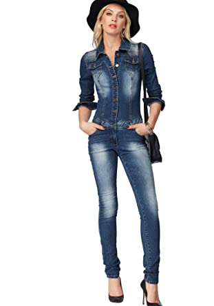 finest selection bc071 3b951 Melrose Damen Jeans Overall Jumpsuit Glitzer Jeansoverall ...