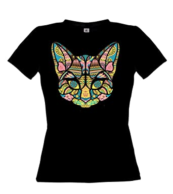 Ethno Designs Streetwear - Mosaic Cat - Womens Going Out and Party Fashion T-Shirt