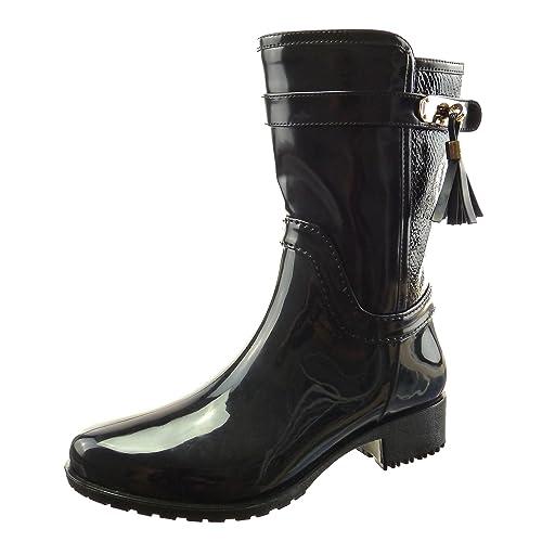 Sopily - Scarpe da Moda Stivaletti - Scarponcini Stivali - Scarponi stivali  pioggia donna pelle di serpente fibbia Tacco a blocco 3.5 ... 50952e2939f
