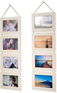Wallniture Wood Photo Collage Picture Frame Natural No Finish Total 8 Opening for 4x6 Inch Photos Wall Mountable Ready to Hang Vertical Gallery Décor