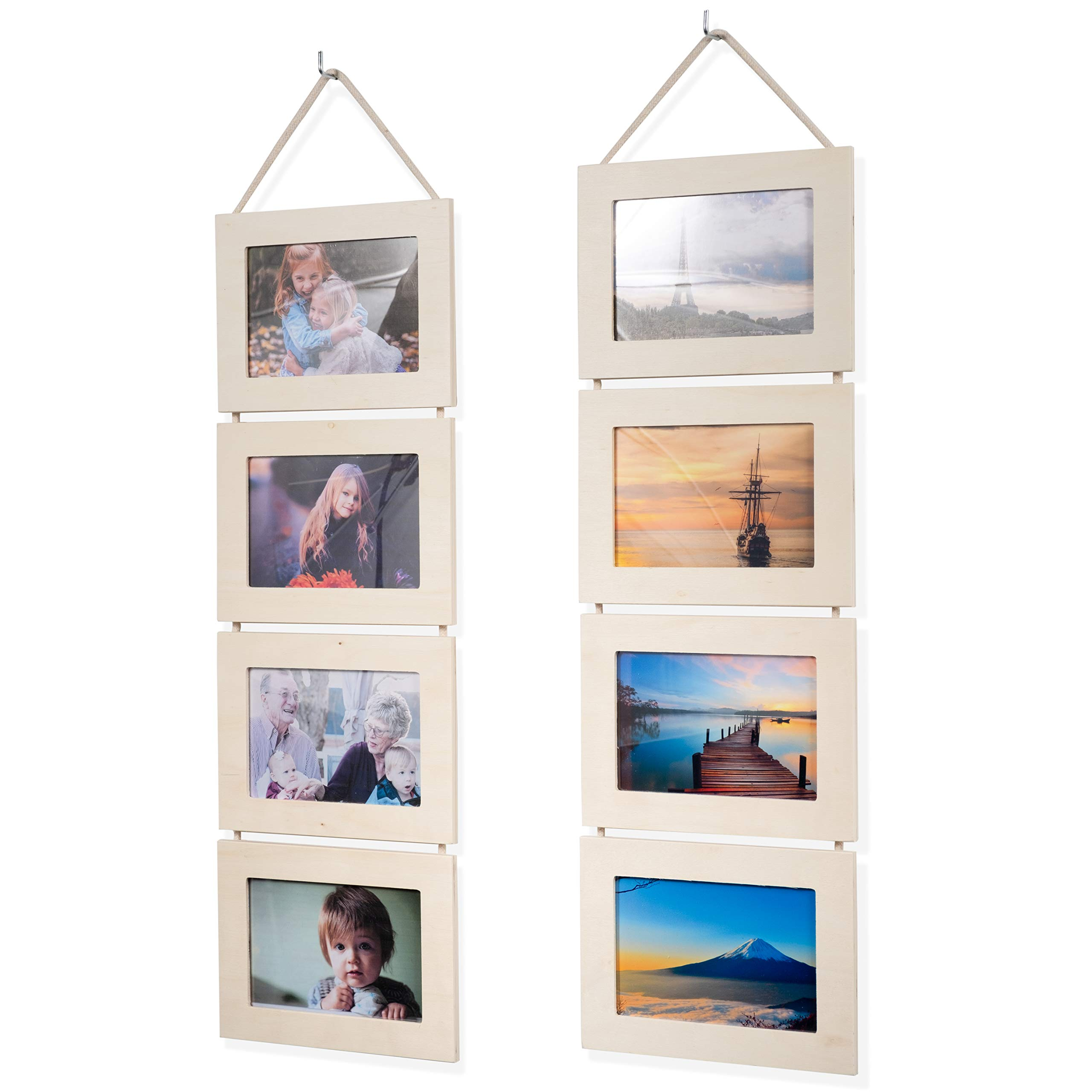Wallniture Wood Photo Collage Picture Frame Natural No Finish Total 8 Opening for 4x6 Inch Photos Wall Mountable Ready to Hang Vertical Gallery Décor by Wallniture