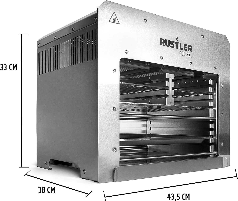 Rustler XXL 800 XL - Barbacoa de Alto Rendimiento, Color Plateado