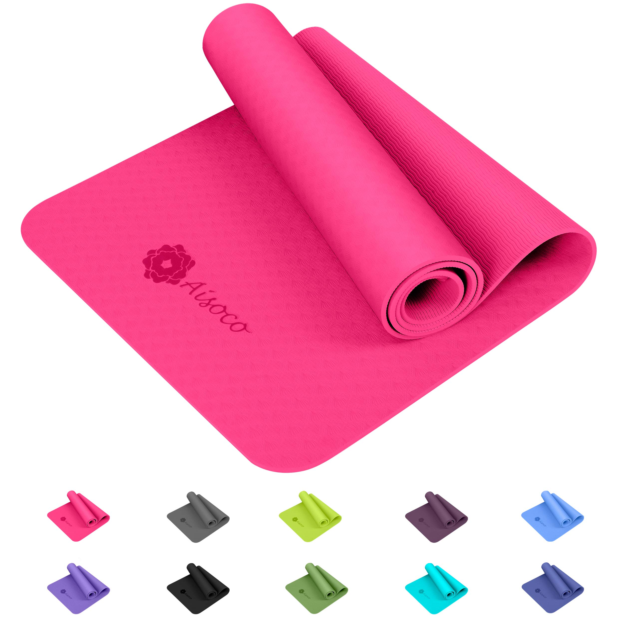Aisoco Estera de TPE para Yoga - Pilates Mat - Eco Amistoso Mat,Antideslizante, Respetuosa con el Medio Ambiente, con Bolso y Correa de Transporte product image