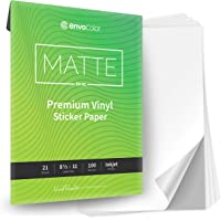 ENVOCOLOR Premium Matte Sticker Paper Printable Vinyl for Inkjet Printer - 21 Waterproof White Sheets - Permanent…