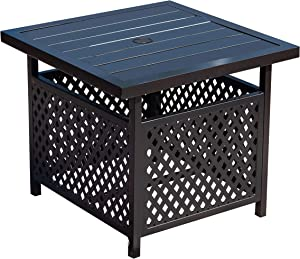 """LOKATSE HOME Patio Umbrella Side Table Stand Steel with 1.57"""" Hole Outdoor Coffee Bistro Deck Garden Pool, Black"""