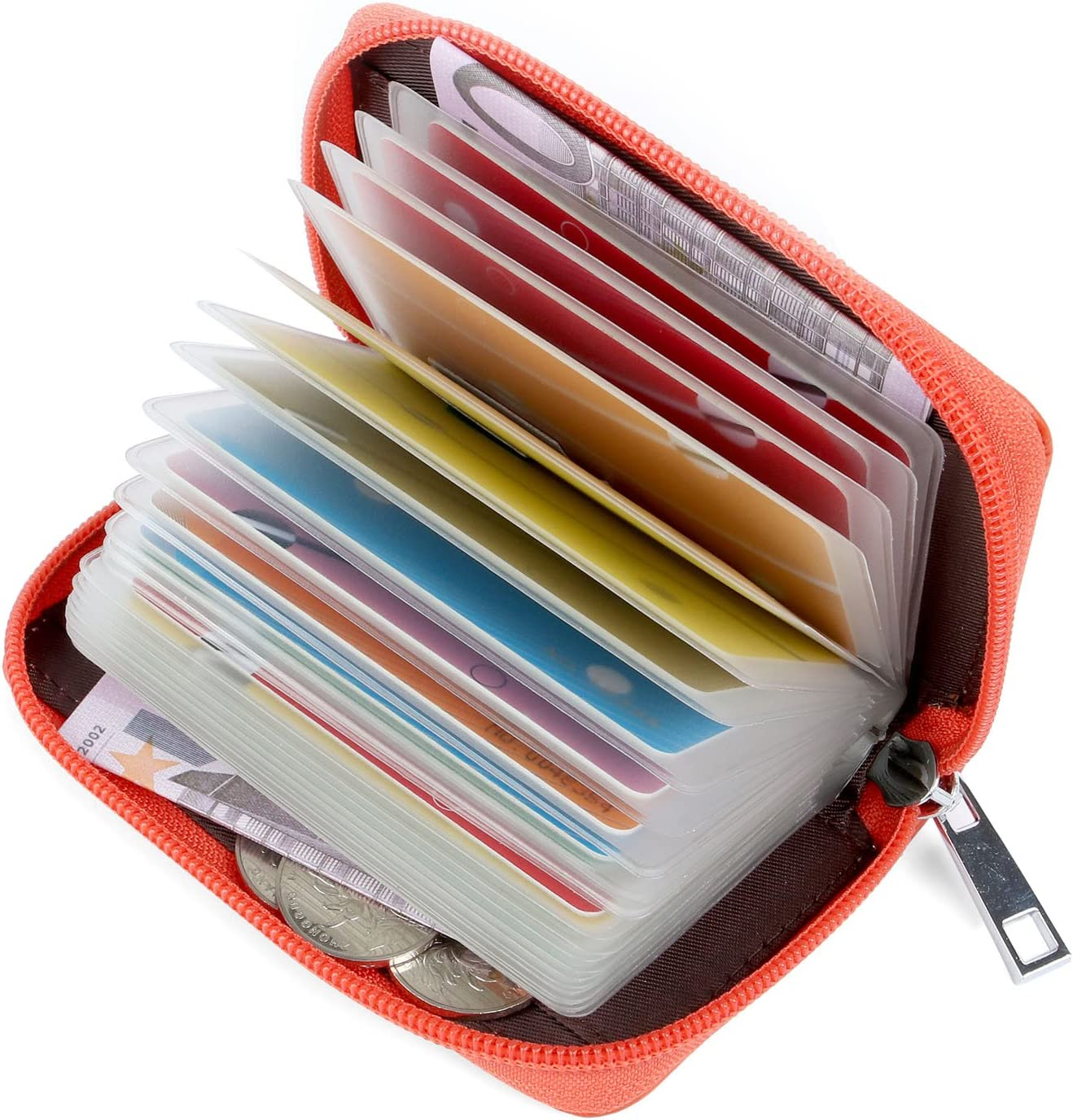 Arancione Porta Carte di Credito Pelle per Donna Uomo
