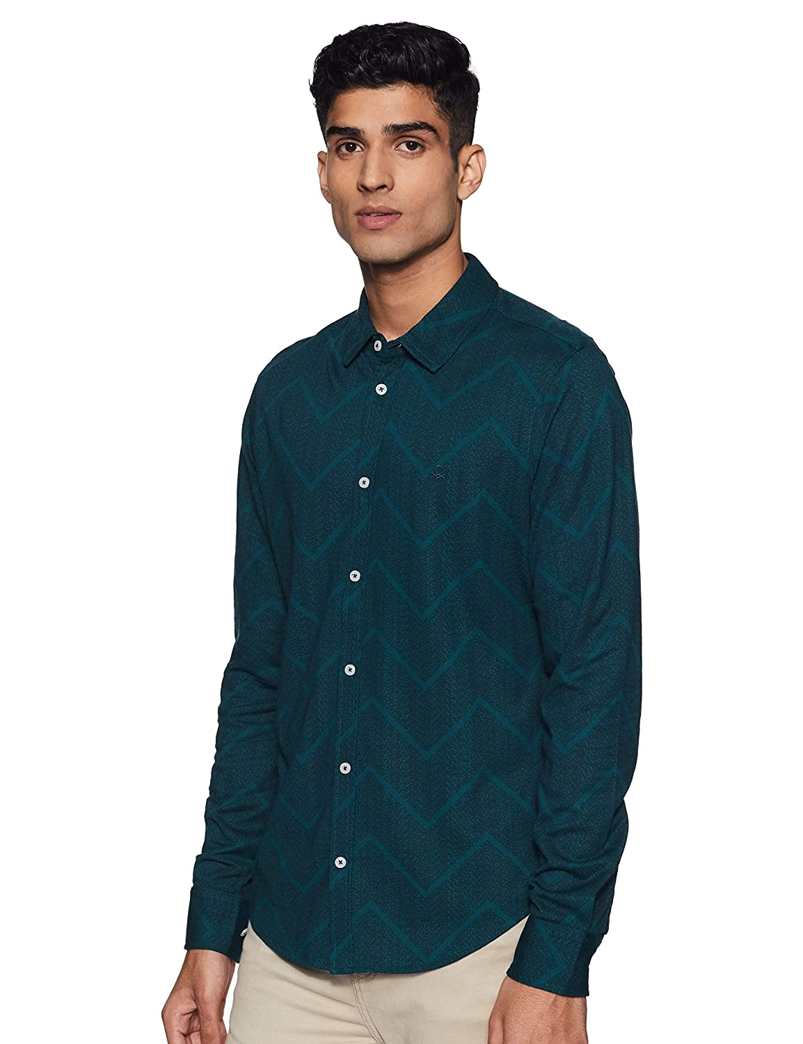 United Colors of Benetton Men's Printed Slim fit Casual Shirt – Size XL