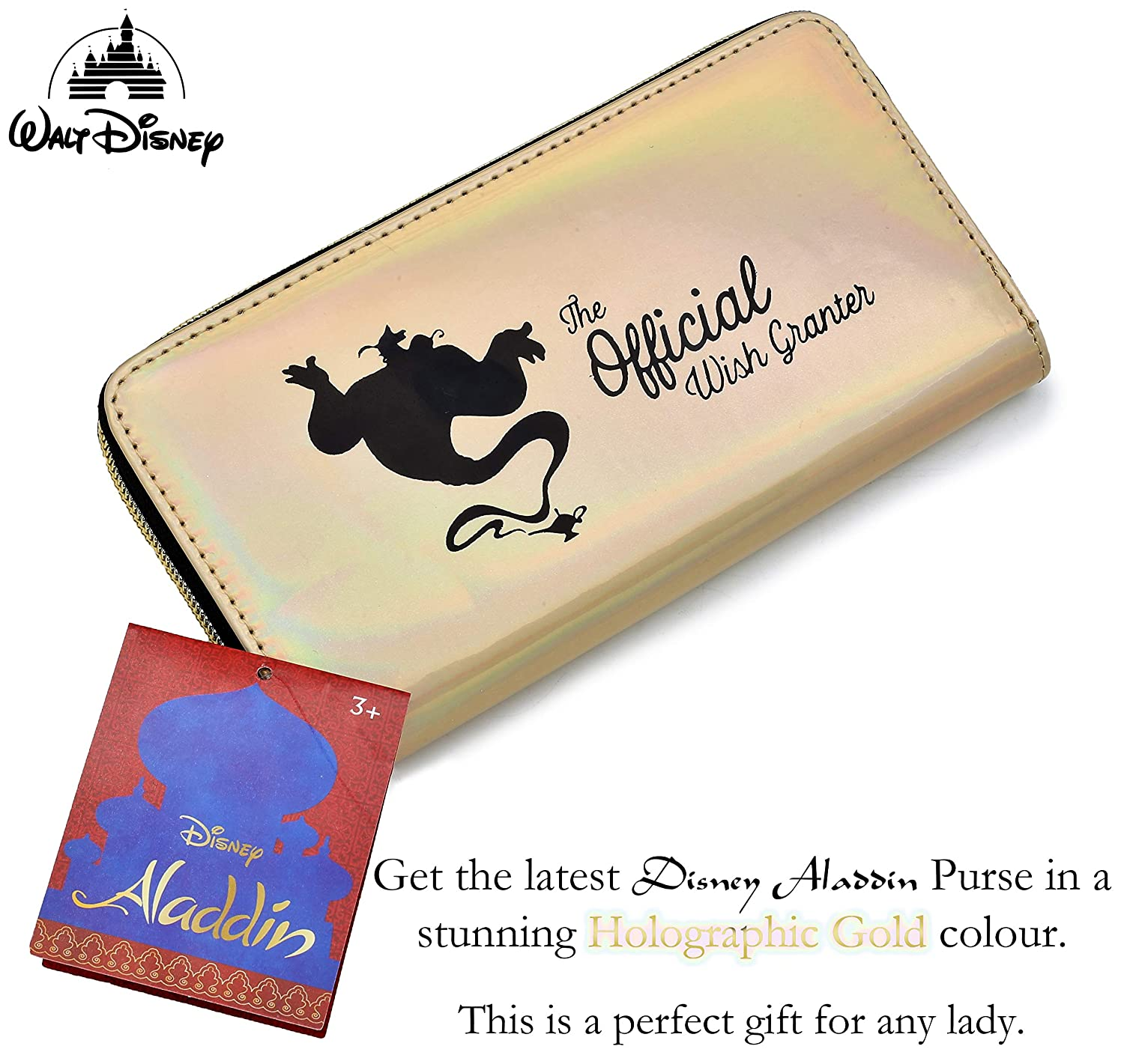 Disney Aladdin Holographic Gold Money Purse with Rainbow Shimmer and Genie Design Will Your Wish Be Granted? Gift Idea for Girls and Women Long Wallet for Cash Cards Coins Notes Or Phone