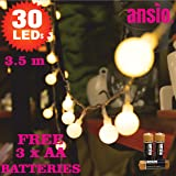 30 LED Warm White Berry Cover Fairy Lights - Battery Operated Perfect for Festive, Wedding/Birthday Party & Xmas Tree Decorations - Batteries Included