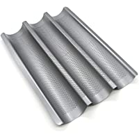 GOURMEO Teglia per baguette (per 3 baguette) con rivestimento antiaderente, 38,5 x 28 x 3 cm - Teglia da baguette, forma per baguette