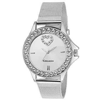 4964ccddf Buy Gerardo Watches for women Branded Watches for women under 500 Watches  for girls women stylish round silver dial quartz chain watches for women  Online at ...