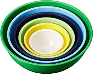 Gourmet Home Products 6 Piece Nested Polypropylene Mixing Bowl Set, Green