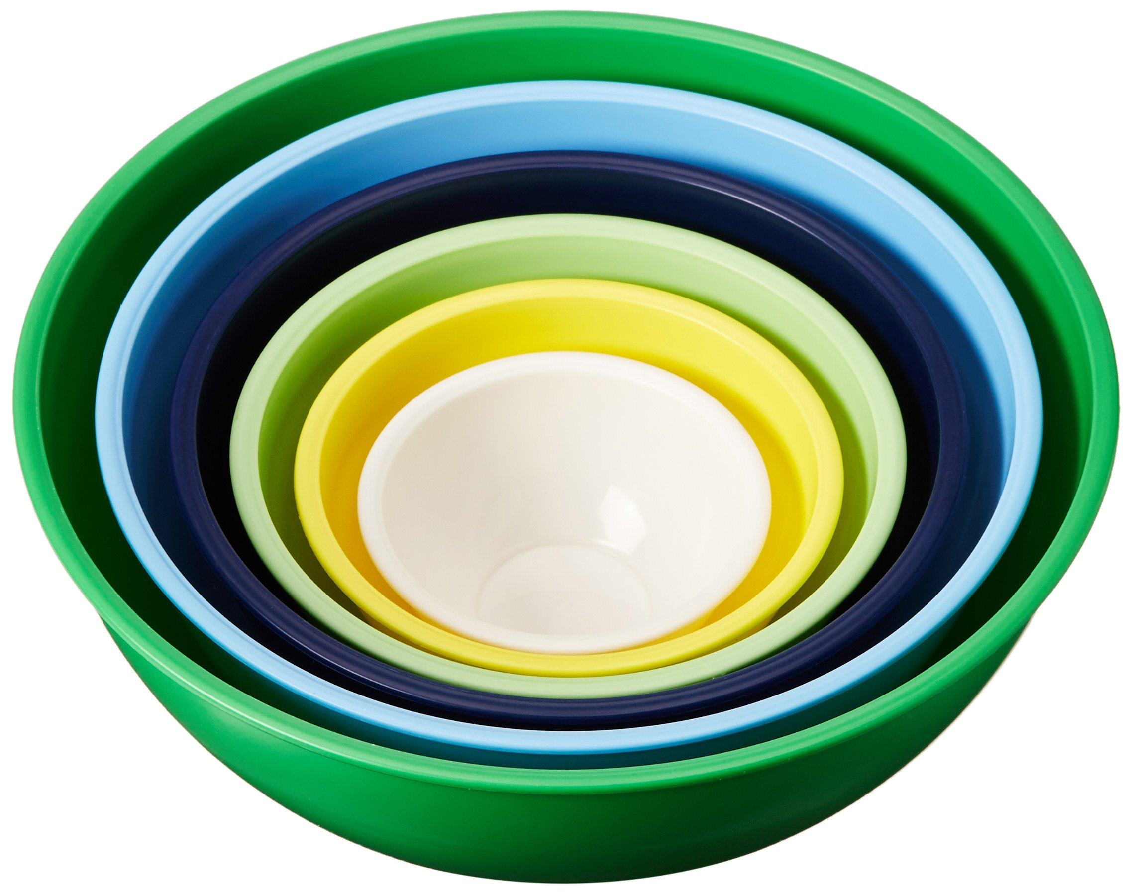 Gourmet Home Products 6 Piece Nested Polypropylene Mixing Bowl Set, Green by Home Gourmet