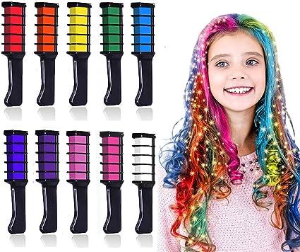 Kalolary Peine de Tiza Para el Pelo, 10 Colores Lavables Tinte para Cabello, Color de pelo Temporal Hair Chalk Set para Niños Regalos Navidad Fiestas ...