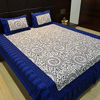 Jaipur Nagri 90 x 84 Inches 150 TC Cotton Double Bedsheet with 2 Pillow Covers & Jaipuri-Bed-Sheet - Abstract-Paisley, Royal-Blue