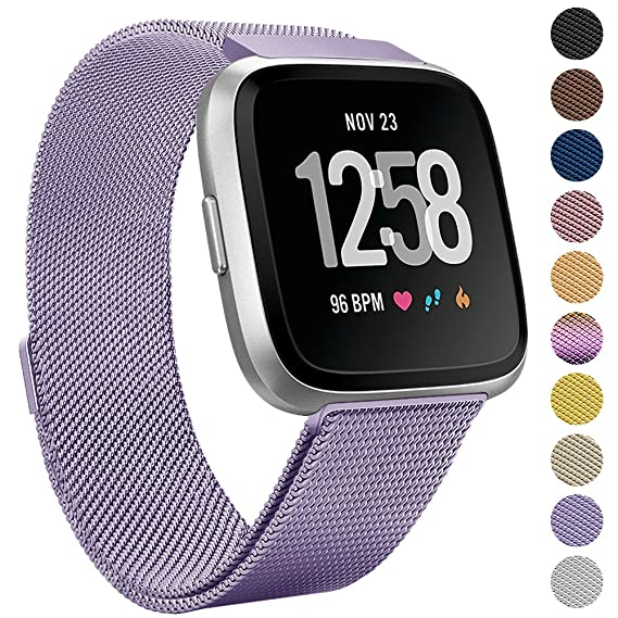 Onedream for Fitbit Versa Bands Lavender Purple for Women Men, Accessories for Fitbit Versa Smartwatch & Special Edition, Metal Mesh Milanese ...