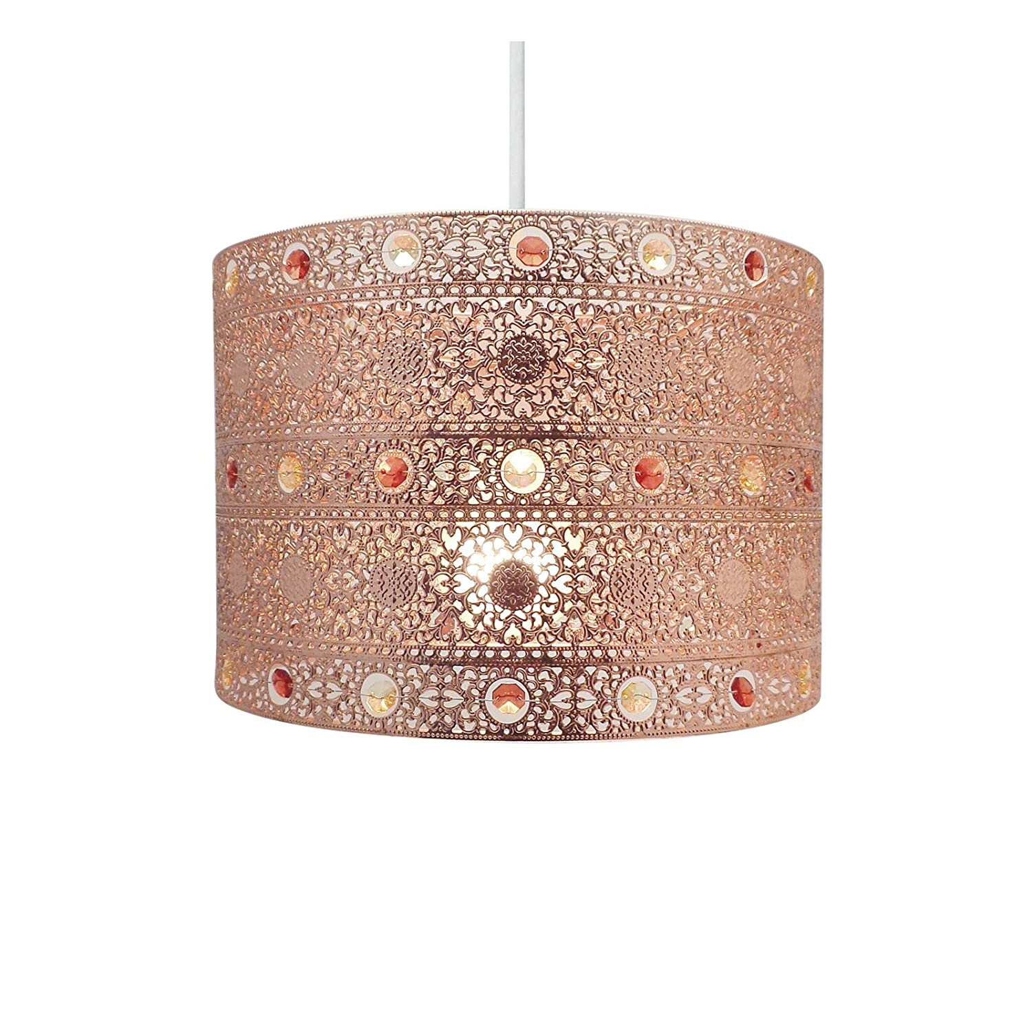 Copper gem moroccan style chandelier ceiling light shade fitting round universal copper amazon co uk lighting