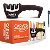 CARVER MARVEL Kitchen Knife Sharpener - Professional 3 Stage Kitchen Sharpener for Premium Knives, Sharpens and Polishes Knives in 30 seconds with a Diamond Slot, Tungsten Slot and Ceramic Slot to Repair, Restore and Polish Your Dull Blades