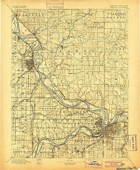 Amazon.com : YellowMaps Kansas City MO topo map, 1:125000 Scale, 30 ...