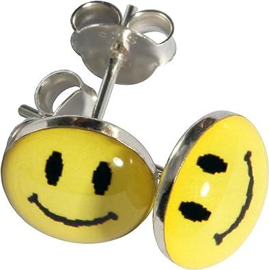 Boucles d/'oreilles argentées smiley