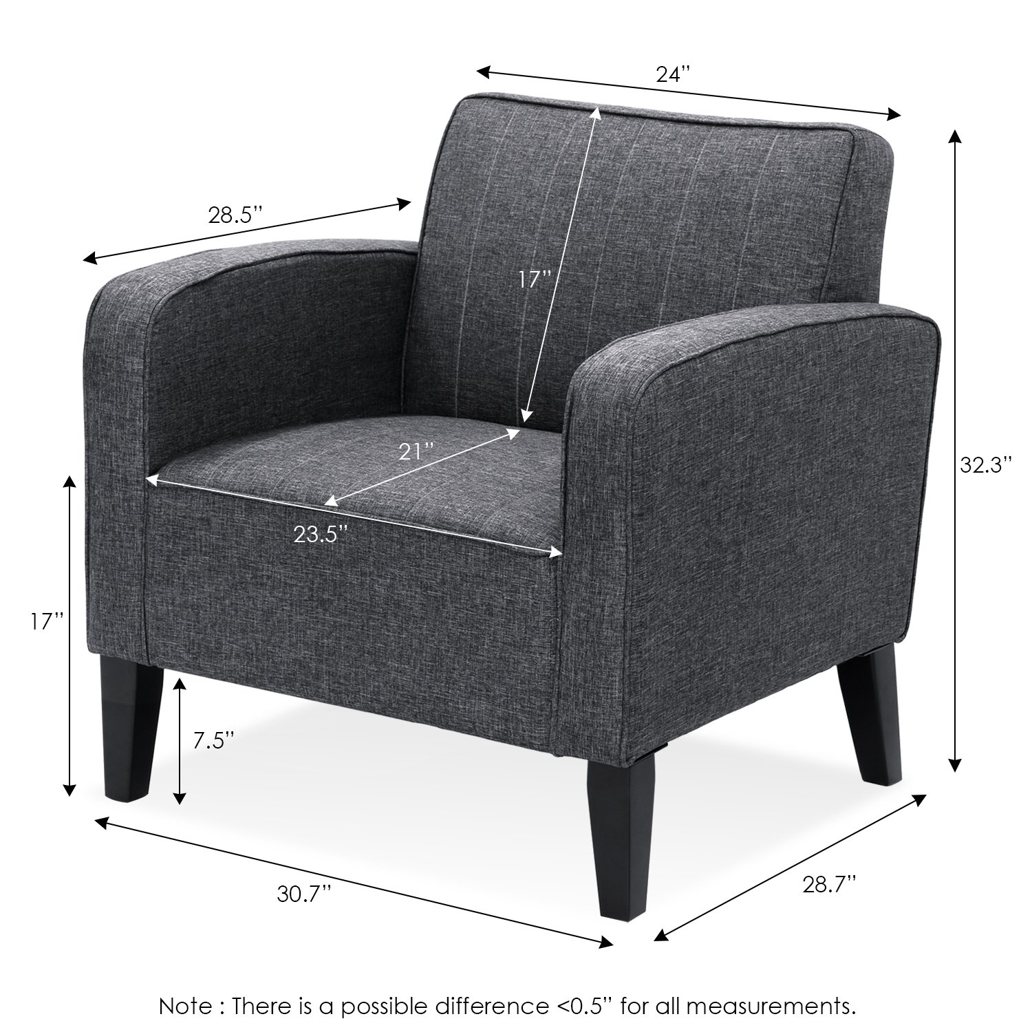 Furinno Euro Classic Upholstered Arm Accent Chair, Dark Grey SF103N5DGY