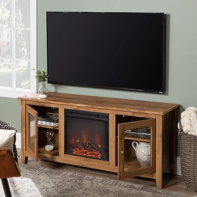 WE Furniture - Soporte de Madera para televisor con Chimenea ...