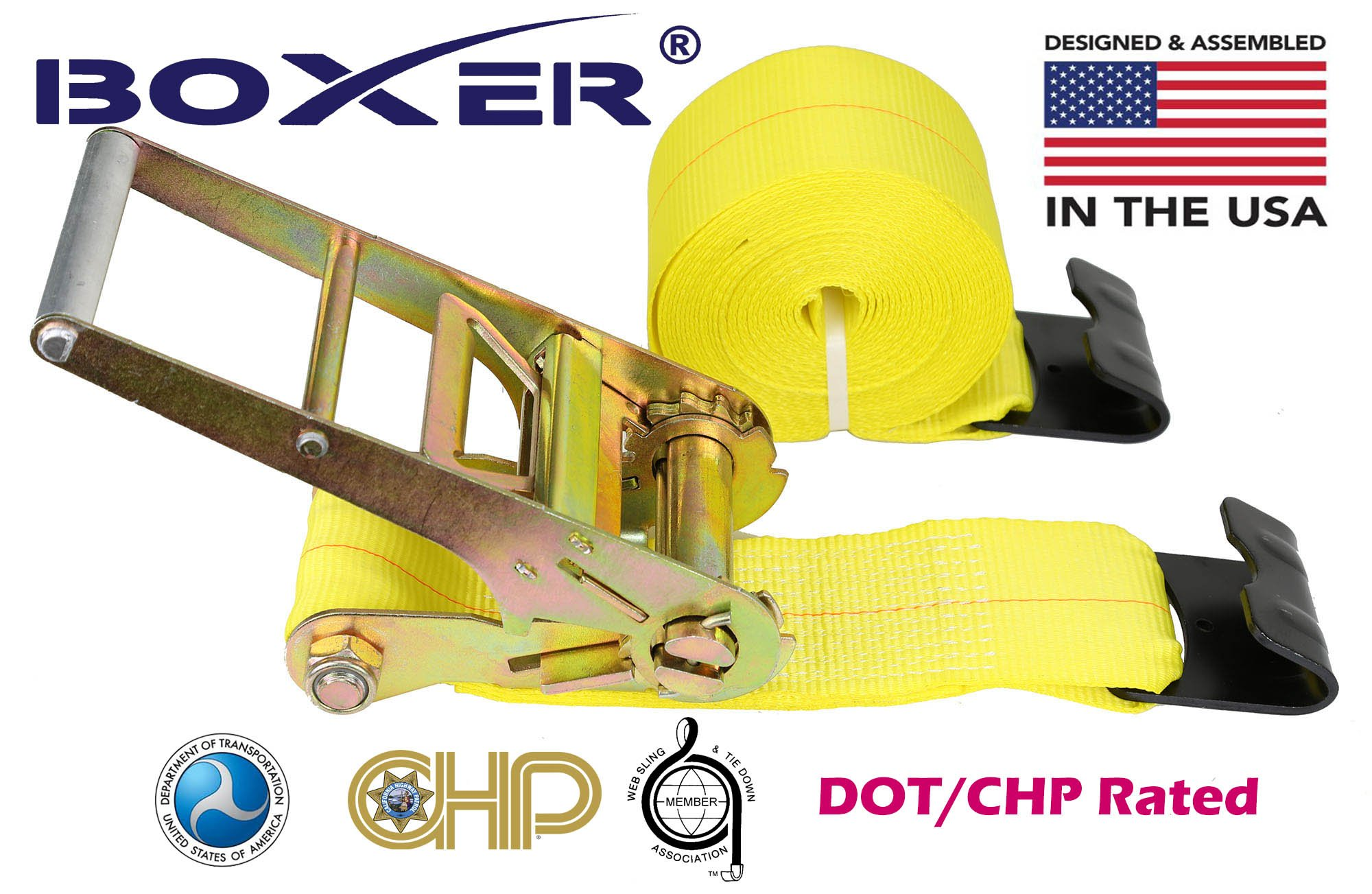 (8) Boxer 4'' X 30' Dual Locking DOT Ratchet Straps W/Flat Hooks Flatbed Truck Trailer Tie Down 5400 LB US Made