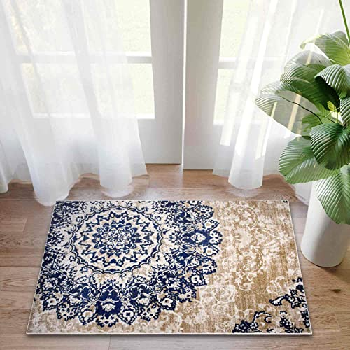 Super Area Rugs, Distressed Medallion Damask Area Rug Stain Resistant Ivory Blue Beige Carpet, 2 2 x 3 11