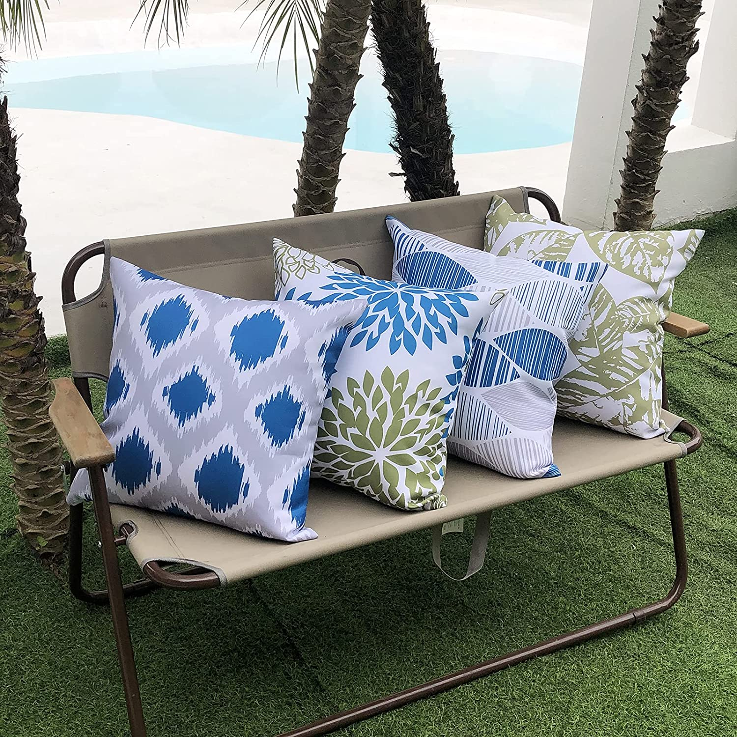 Hckot Set of 4 Outdoor Pillow Covers 18x18 inch Waterproof, Leaf Floral Printed Decorative Pillows Waterproof Outdoor Pillows Covers for Patio Furniture Couch,Blue