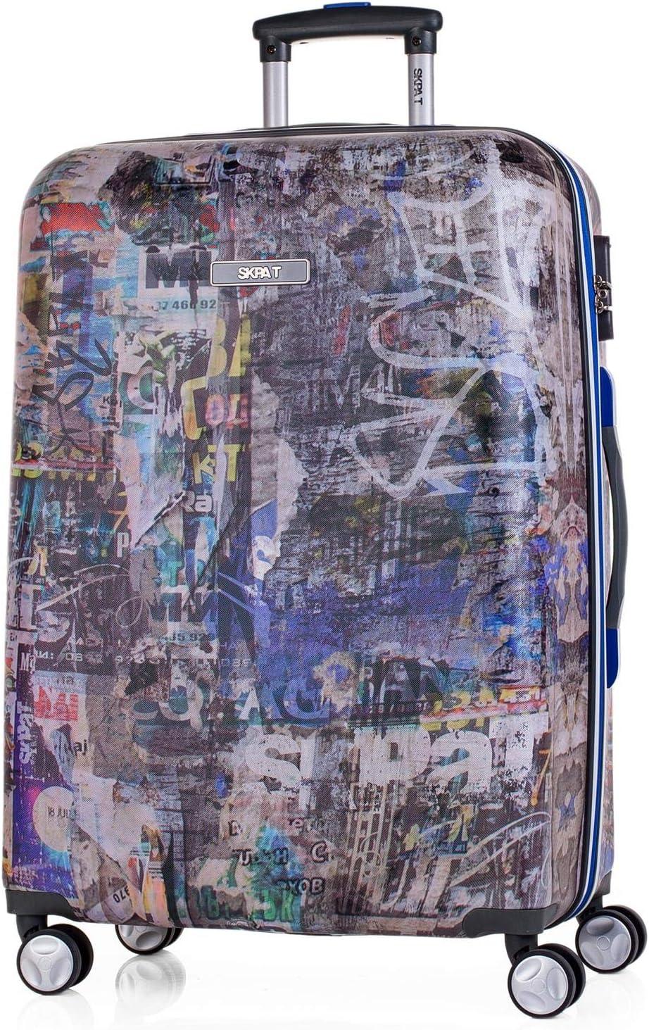 SKPAT - Maleta de Viaje Rígida 4 Ruedas Mediana Trolley 60 cm ABS Estampado. Resistente Robusta Ligera. Mango Asas Candado. Duradera y de Calidad. Estudiante. 53960, Color Gris Oscuro