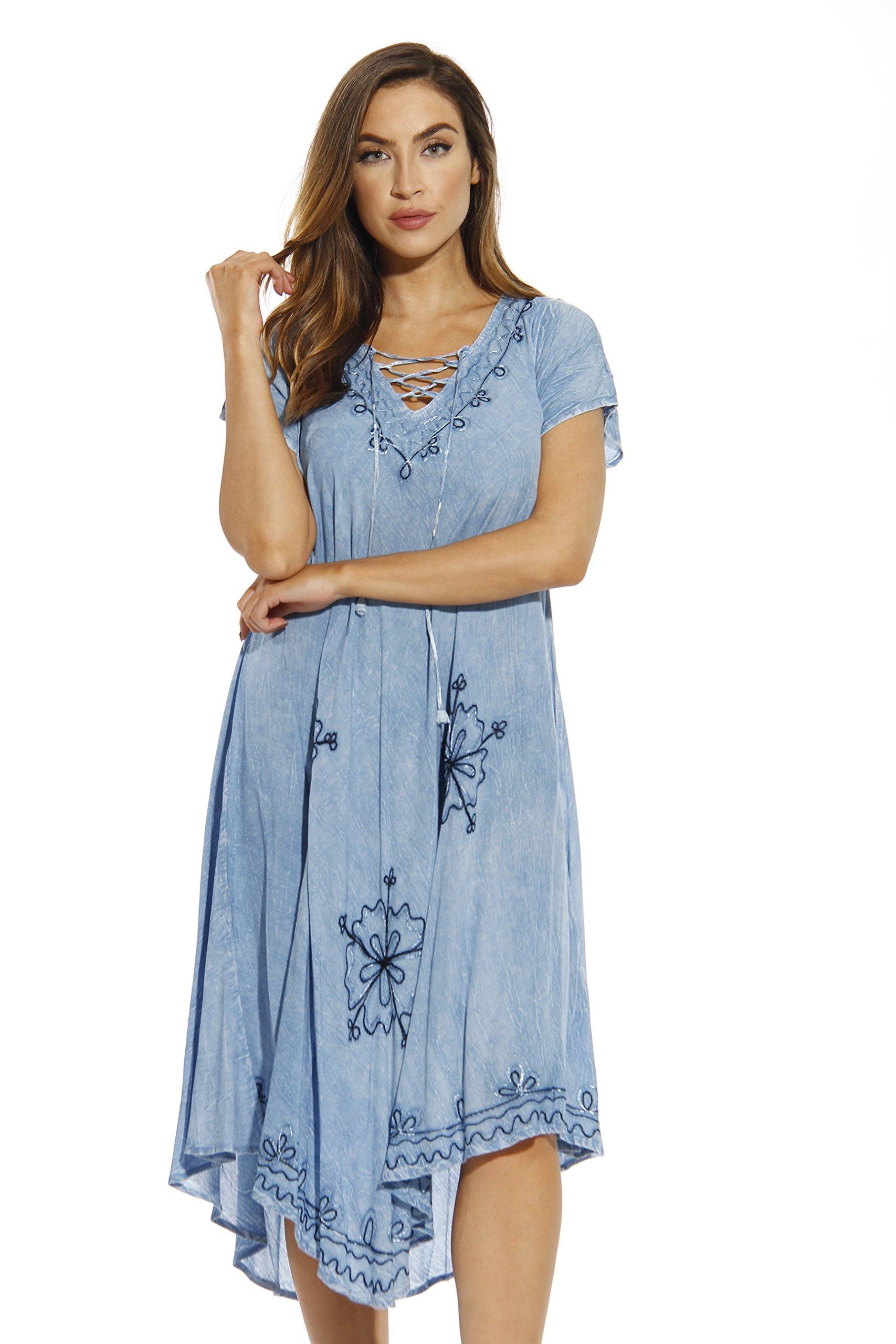 21726-LTDEN-XL Riviera Sun Dress / Dresses for Women,Light Denim,X-Large