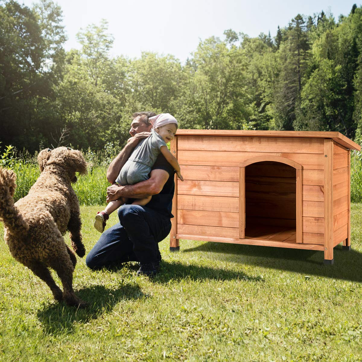 Tangkula Dog House, Outdoor Weather-Resistant Wooden Log Cabin, Home Pet Furniture, Pet House with Adjustable Feet & Removable Floor, Pet Dog House (Large) by Tangkula