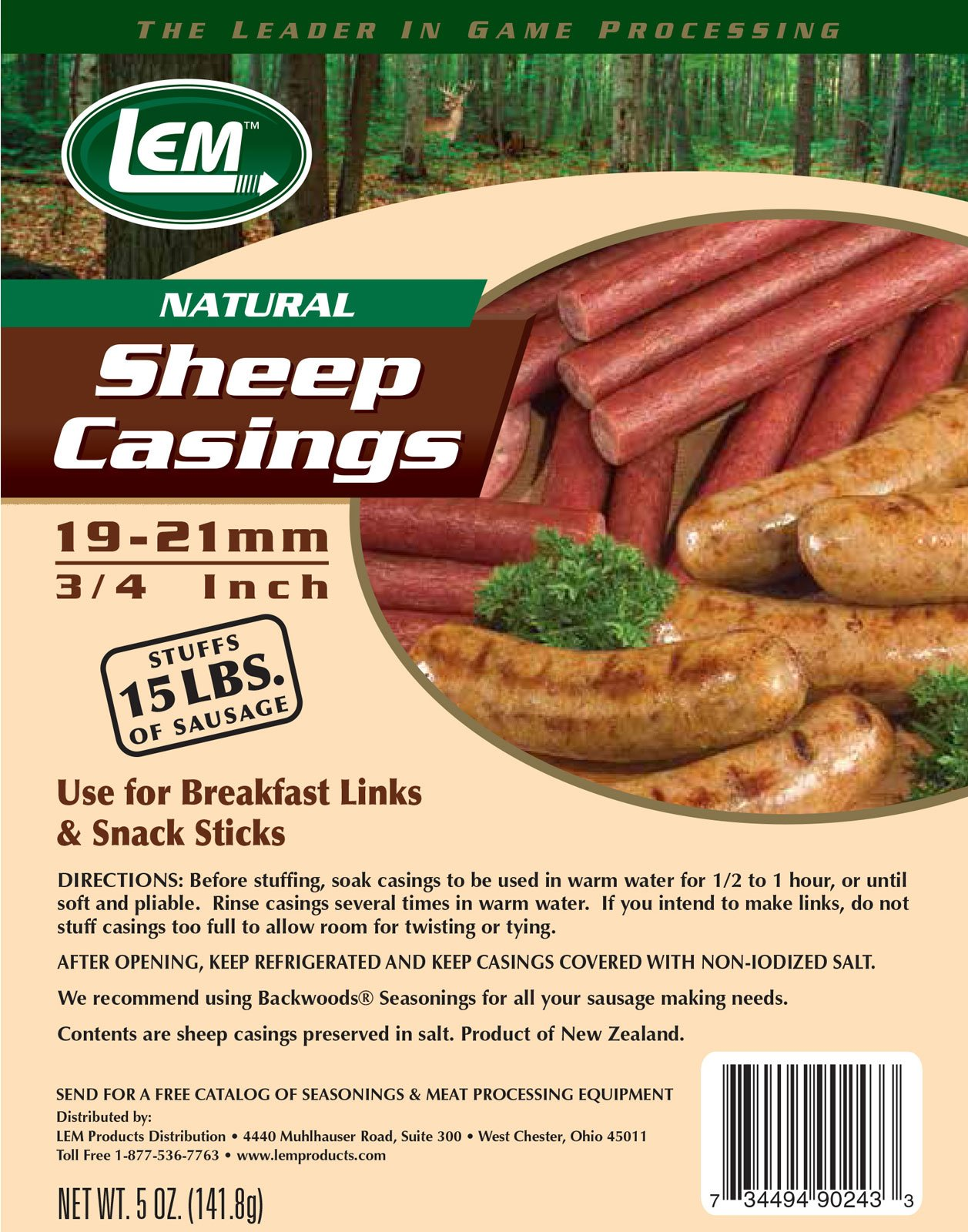 LEM Products 243 5 oz. Vacuum Sealed Bag- Sheep Casings for 15 lbs. Meat