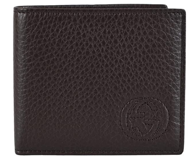 9834e4310235 Image Unavailable. Image not available for. Colour: Gucci Men's Textured  Brown Leather Soho GG Logo Bifold Wallet