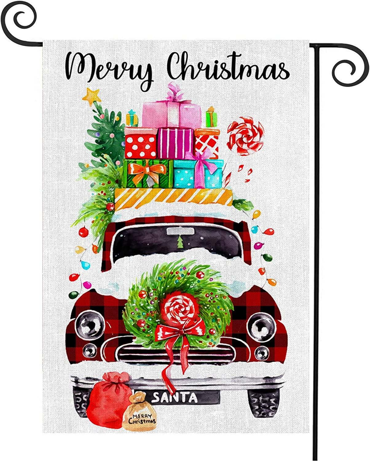 Probsin Merry Christmas Garden Flag Home Decorations Burlap Double Sided Red Buffalo Plaid Truck Tree Gifts Holiday Yard Sign Xmas Decor for Outdoor,Yard,Garden,Lawn