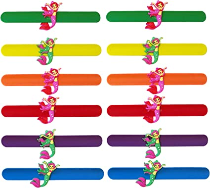 12x Slap Bracelets For Party Favors With Colorful Hearts Animal Party Supplies