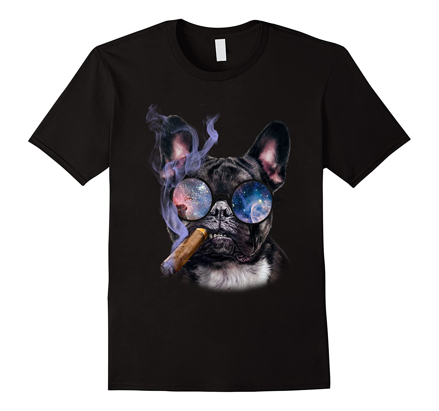 T-Shirt, French Bull Dog Biting Cigar, Retro Galaxy Eyeglass-TH