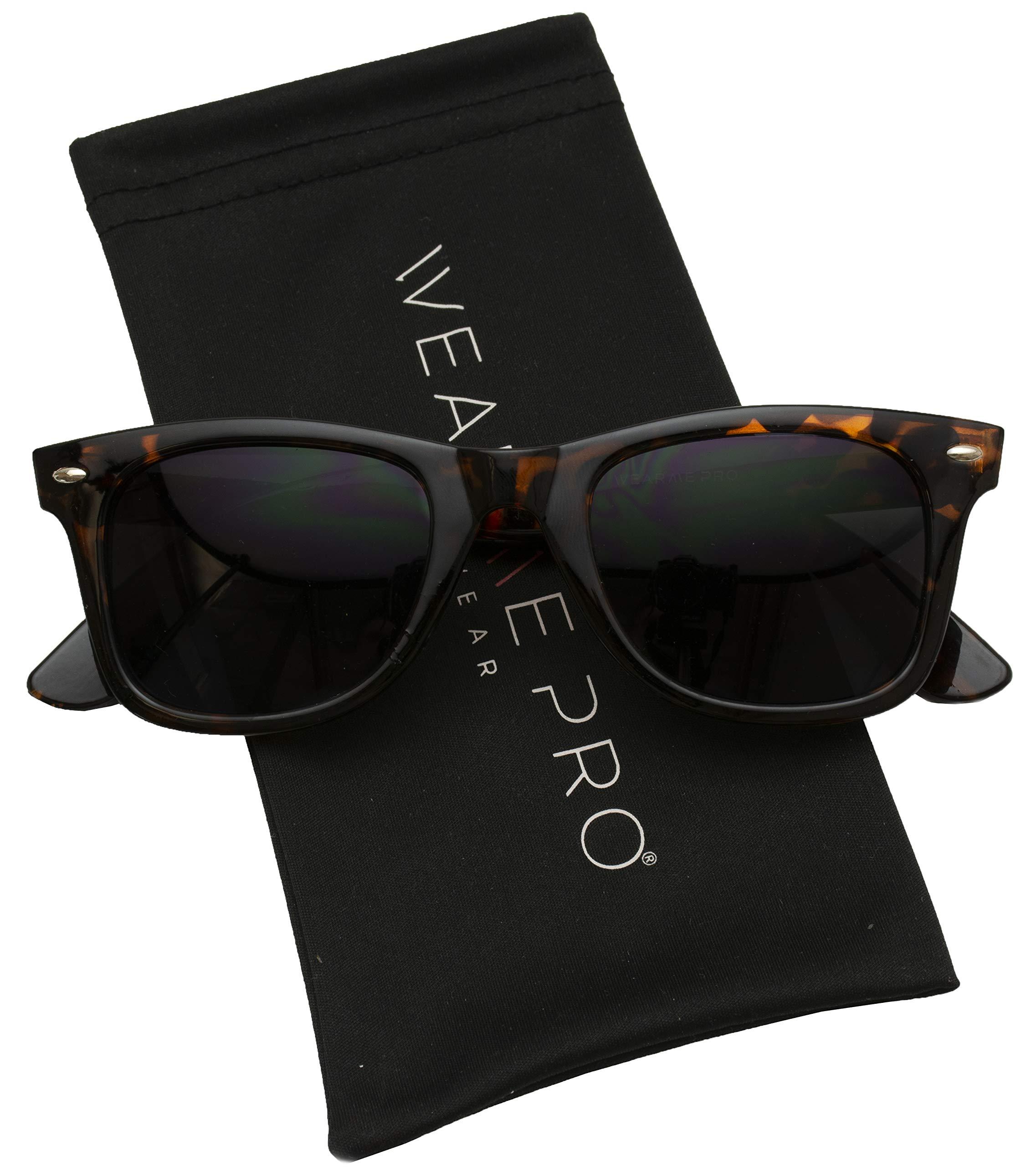 WearMe Pro - Classic Dark Lens Small Horn Rimmed Sunglasses (Tortoise Frame/Black Lens, 49)