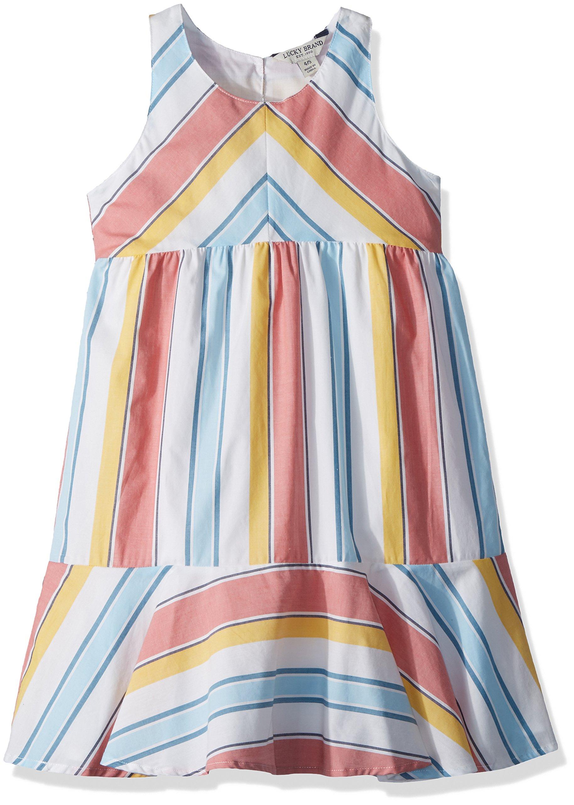 Lucky Brand Little Girls' Sleeveless Fashion Dress, Aleah Marshmallow, 6